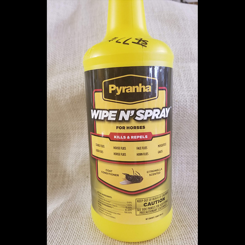 Fly Repellant Pyranha Wipe N' Spray for horses